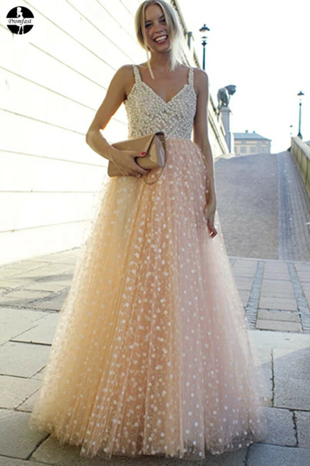 Promfast Sparkly Prom Dresses A-line Straps Beading Long Beautiful Prom Dress Sexy Evening Dress PFP1984
