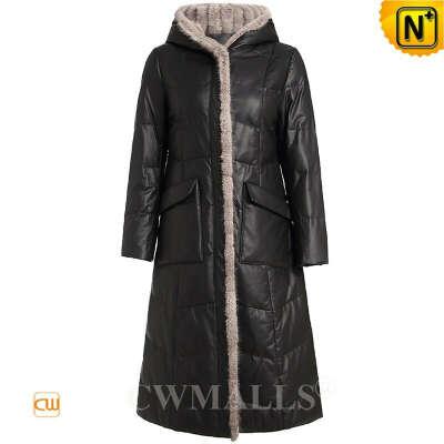 Women Down Coat   Women Mink Fur Trim Leather Down Parka Coat CW602603   CWMALLS®