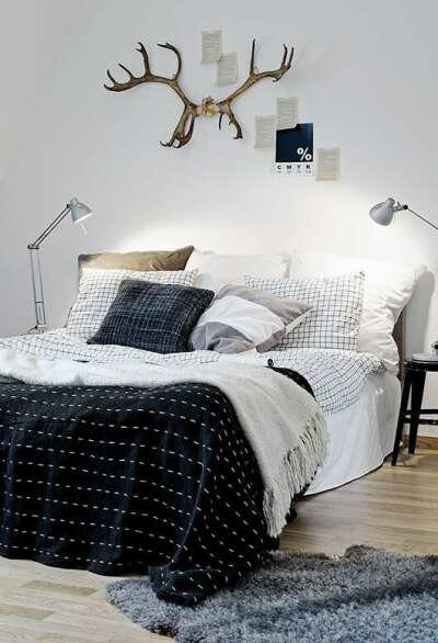 Черные, белые и серые постельные принадлежности