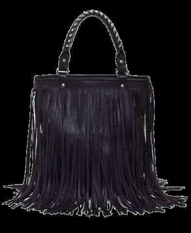Vintage PU Fringe Studded Shoulder Bag
