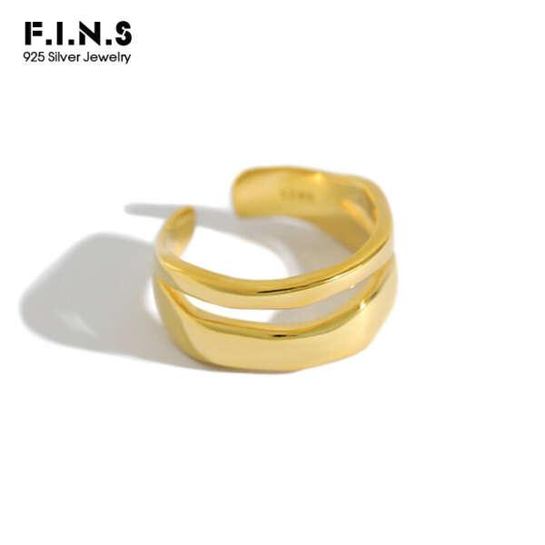668.64руб. 8% СКИДКА|Женское Двухслойное кольцо F.I.N.S, регулируемое Открытое кольцо из стерлингового серебра 925 пробы, ювелирные украшения|Кольца|   | АлиЭкспресс
