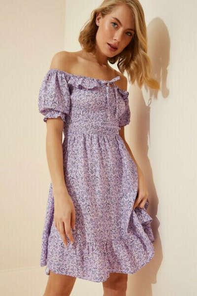 Happiness İst. Kadın Lila Çiçekli Mini Viskon Elbise