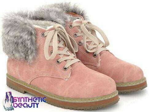 Ботинки розовые с мехом