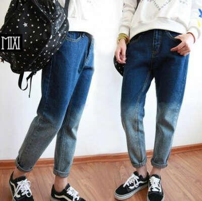 объемные джинсы с завышеной талией