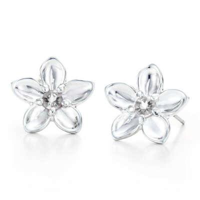 Серебряные цветочки-серёжки