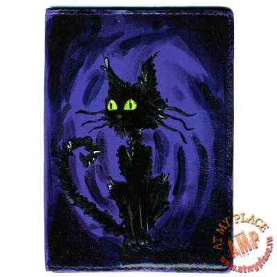 """Кожаная обложка на паспорт """"Черный котище"""""""