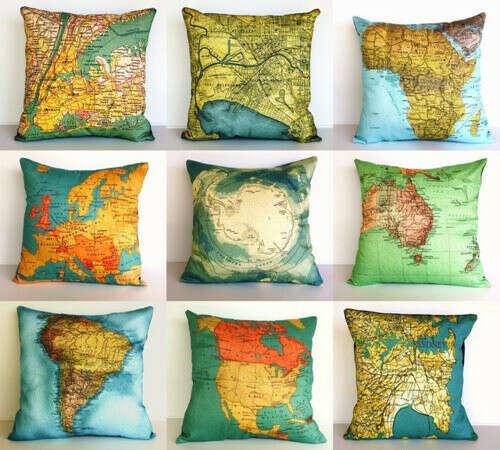 Наволочки на детские подушки с географическими картами