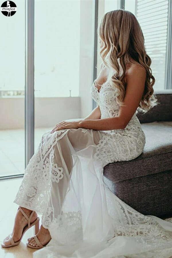 Promfast Sweetheart Sheath/Column Lace Appliques Beach Wedding Dress PFW0530