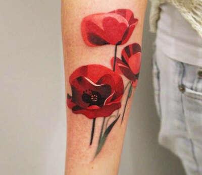 Переводная татуировка маки