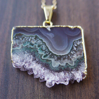 Green Stalactite Necklace, Gold Filled