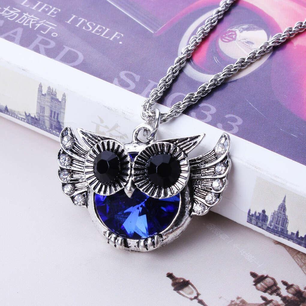 Cute Fat Blue Belly Owl Fashion Punk Rock Style Rhinestone White K Necklace