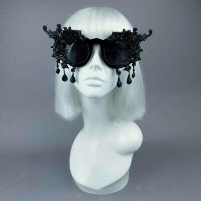 """Black Magick"" Black Filigree Ornate Sunglasses"