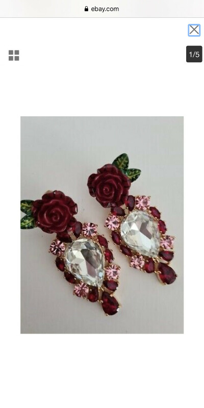 DOLCE & GABBANA RUNWAY Red rose Baroque Crystal Clips earrings