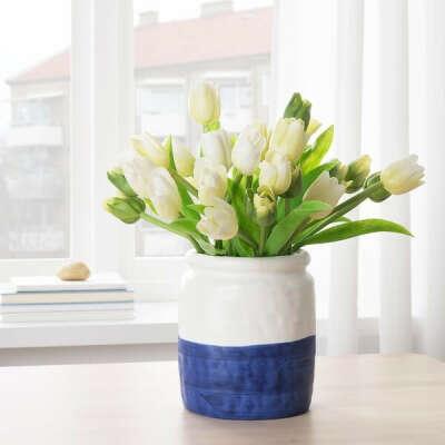 ГОДТАГБАР Ваза - керамика белый/синий - IKEA