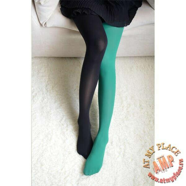 Черно-зеленые двухцветные колготки