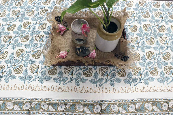 Floral Jal Hand block Printed Cotton Six Seater Table Cover