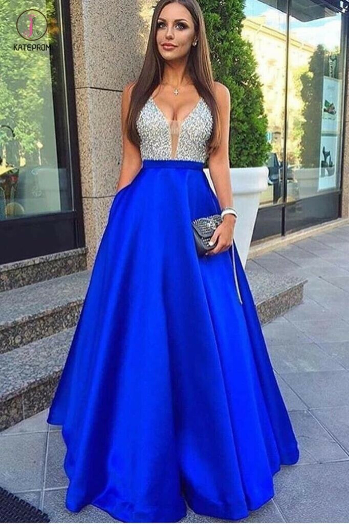 Glamorous Deep V-Neck Sleeveless Floor-length Royal Blue Prom Dress with Beading KPP0330
