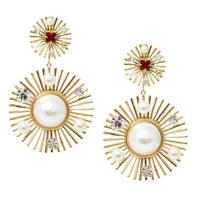 Золотистые серьги-солнца с жемчугом и кристаллами