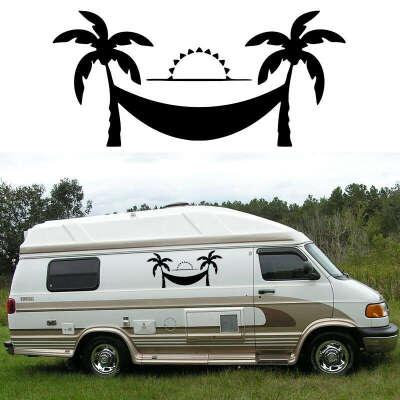 2x Coconut Tree Hammock (one for each side) Camper Van RV Trailer Truck MotorHome Vinyl Graphics Kit Decals Door Car Stickers