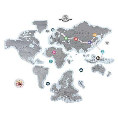Скретч-карта Мира магнитная True Map Puzzle  / Серебряный