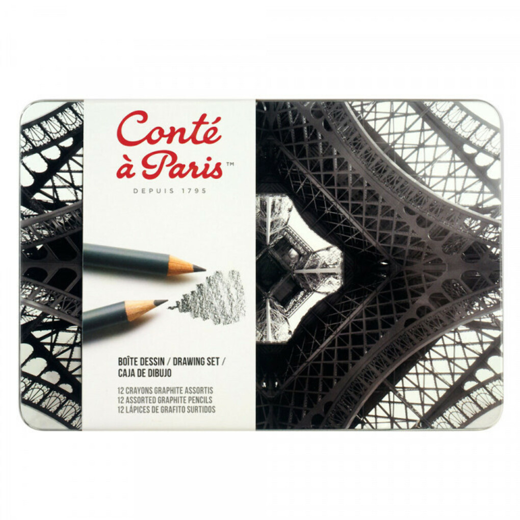 CONTE : GRAPHITE PENCIL : DRAWING SET OF 12