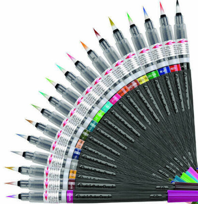 Ручки кисти с краской Pentel Colour Brush