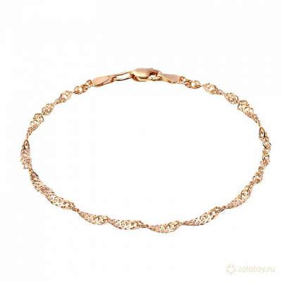 Золото - Золотой браслет пустотелый, плетение Сингапур тов № 585-36031
