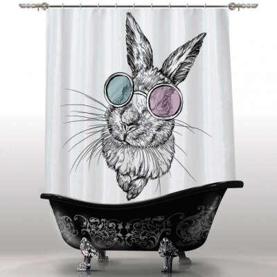 """Шторка для ванны """"Заяц"""""""
