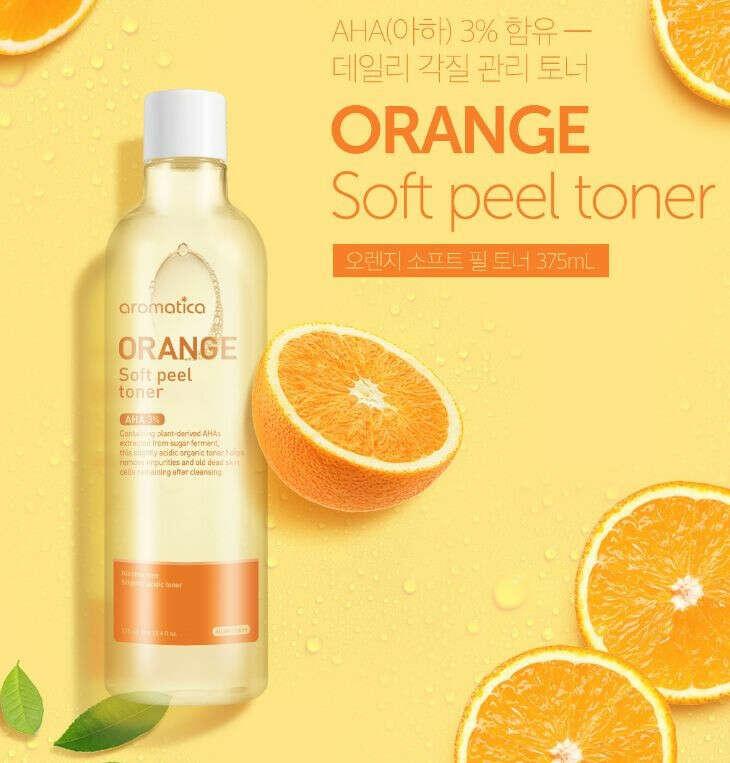 Aromatica / Отшелушивающий тонер с апельсином Orange Soft Peel Toner, 375 мл
