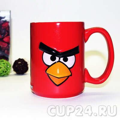 Большая кружка AngryBirds 3D 400 мл. красная в коробке