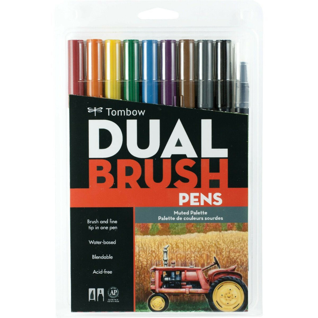 Tombow Dual Brush Pen Set, Muted Colors