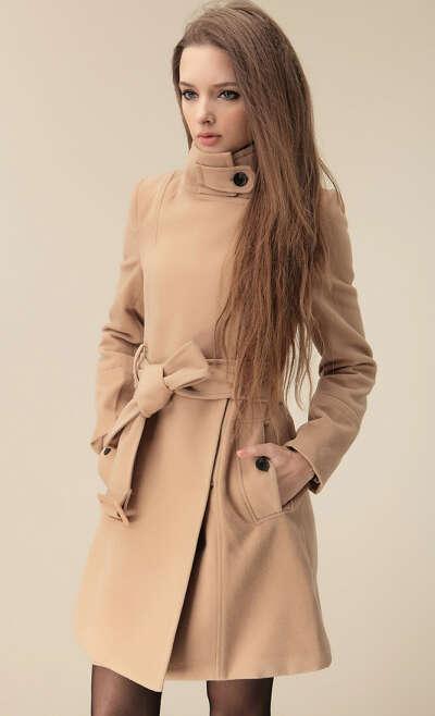 Camel Wide Lapel Belt Oblique Zipper Wool-blend Coat - Sheinside.com