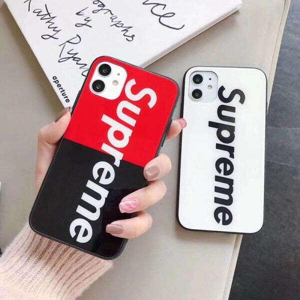 Supreme iPhone 11/11pro maxケース ガラス表面 シュプリーム アイフォン11プロカバー ブラントiPhone xr/xs max携帯ケース supreme iphone x/xsカバー