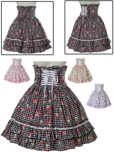 Strawberry skirt 2(black or pink)