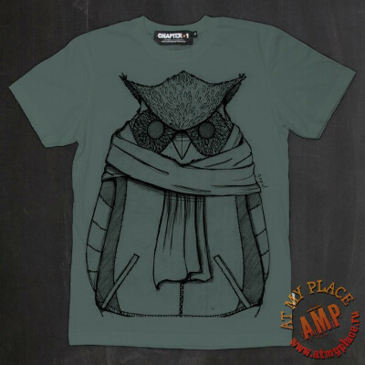 Серо-зеленая футболка Owl