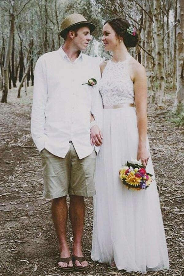 Simple Jewel Sleeveless Floor-Length Wedding Dresses,Lace Top White Wedding Gown PFW0198