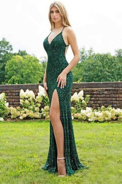 Spaghetti Strap Emerald Green Prom Dresses Slit Sheath Sequined Formal Evening Dress PFP0602