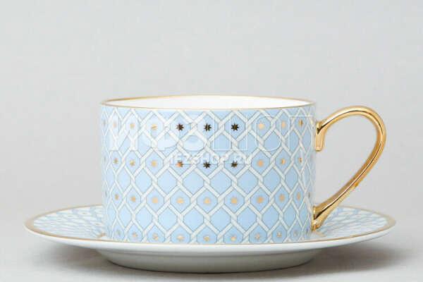2 Чашки с блюдцем чайные форма Идиллия, рисунки Азур 2 и Скарлетт 2 (Императорский фарфоровый завод, Россия)