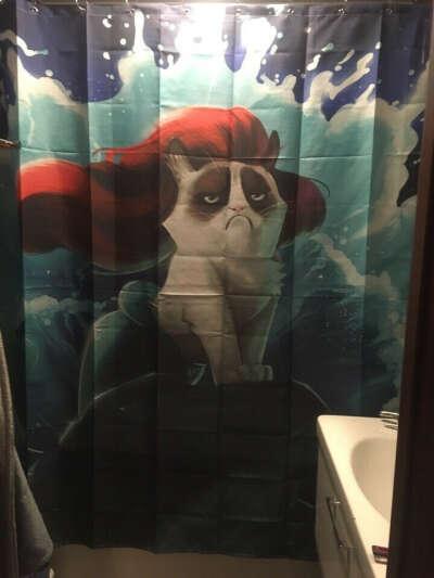 Смешная шторка для ванной