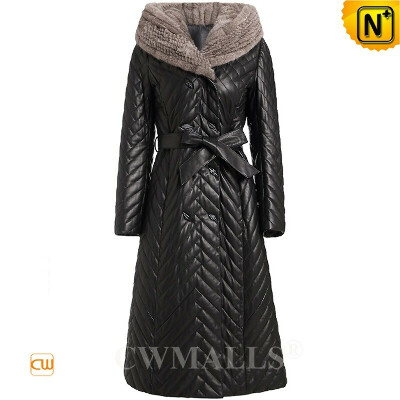 Women Down Coat   Full Length Quilted Leather Down Coat with Mink Hood CW602605   CWMALLS®