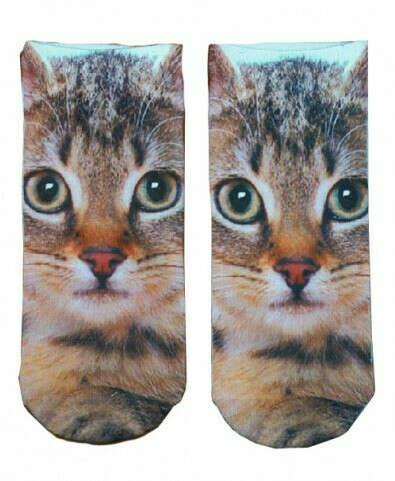 Cat Print Ankle Socks
