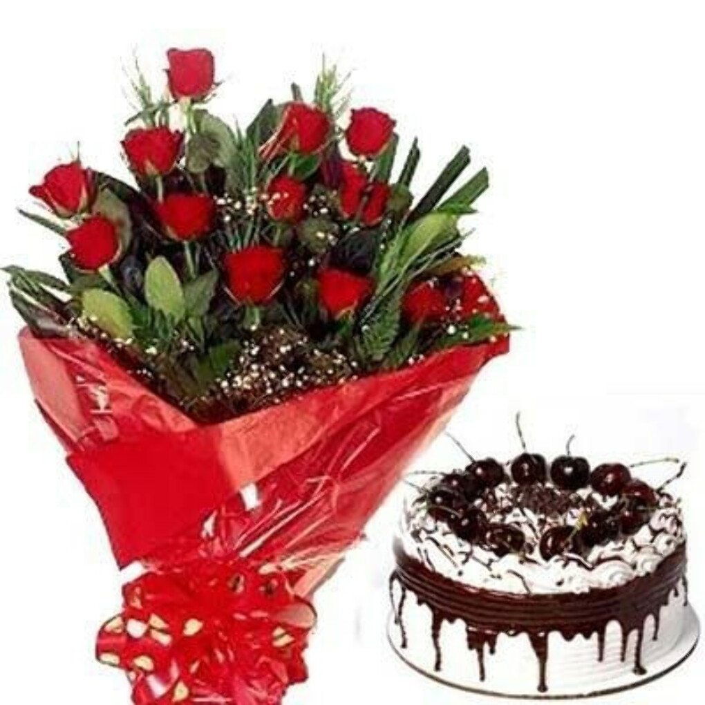 15 Red Rose Bunch With Chocolate Cake