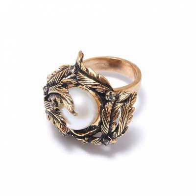Кольцо с листьями и жемчужиной - Maurizio Mori