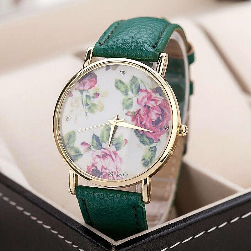 Новый ретро цветок сад пион кварцевые часы часы женщины часы мода повседневная кожа часы женские модели таблицы montre femme