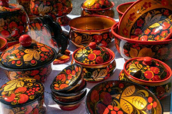 Набор деревянной посуды хохлома