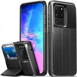 Vena vCommute Galaxy S20 Ultra Wallet Case – Space Gray (PC) / Black (TPU) / Black (Leather)