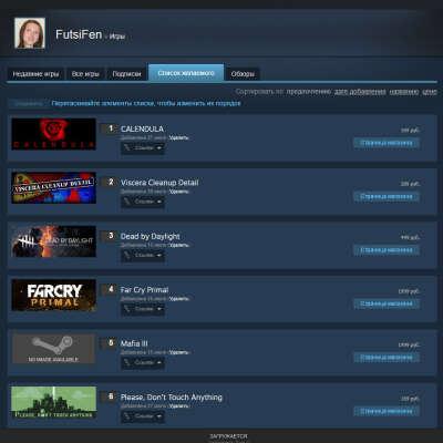 Игры из списка желаемого в Steam