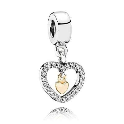 Бусина Pandora серебро с золотом (#791421CZ)