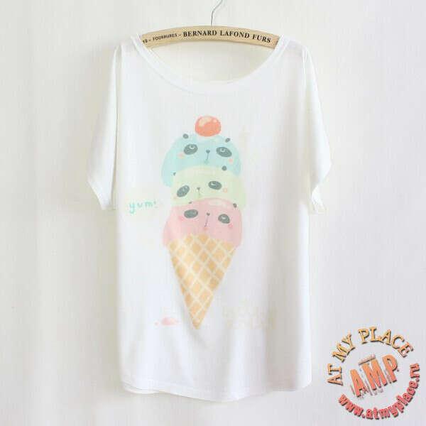 "Белая футболка ""Панда-мороженое"""
