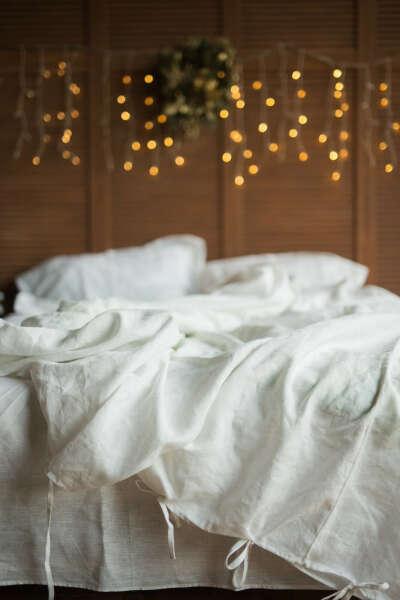 Белое постельное белье из натурального льна все размеры, белая постель лен купить в Украине